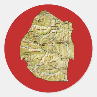 Swaziland kartaklistermärke runt klistermärke