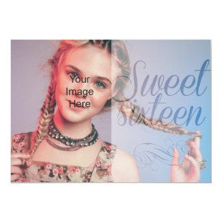 Sweet sixteen skrivar flickaktigt satte ditt egna 12,7 x 17,8 cm inbjudningskort
