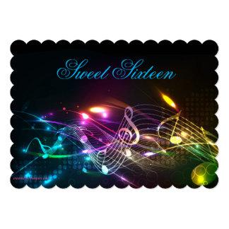 Sweet sixteeninbjudan, ljust neonljus 12,7 x 17,8 cm inbjudningskort