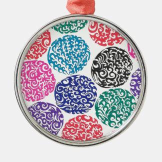 Swirly bollar rund silverfärgad julgransprydnad