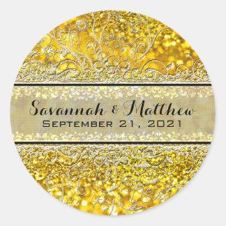 Swirly för guld- glitter förseglar romantiskt runt klistermärke