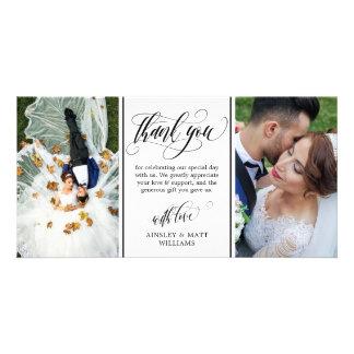 Swirly skrivar två gifta sig fototack fotokort
