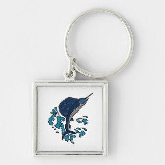 Swordfish Fyrkantig Silverfärgad Nyckelring
