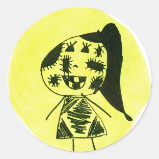 Sy flickan runt klistermärke