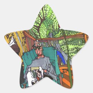 Sy i tid stjärnformat klistermärke