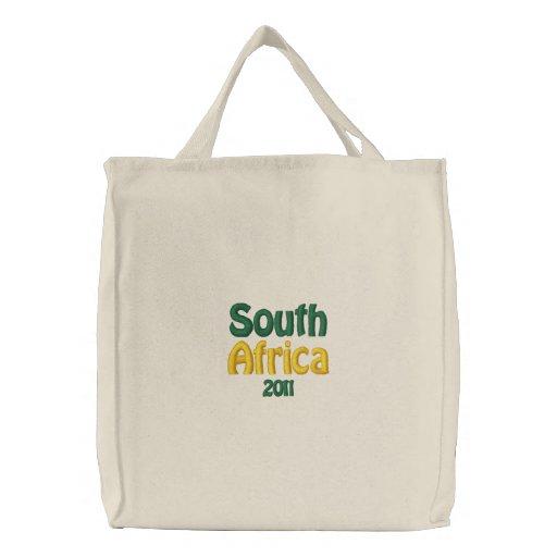 Sydafrika 2011 patriotiska fläktmerchandise broderad kasse