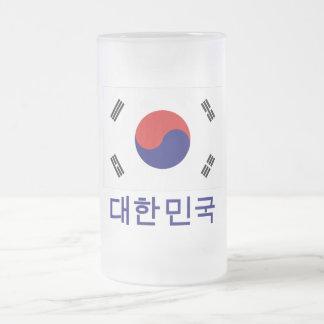 Sydkorea flagga med namn i korean frostat ölglas