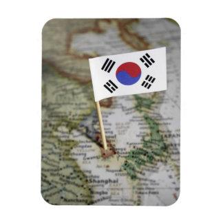 Sydkoreansk flagga i karta magnet