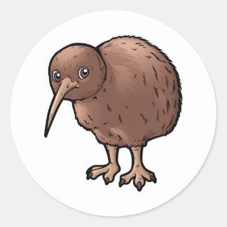 Sydlig brun Kiwi Runt Klistermärke