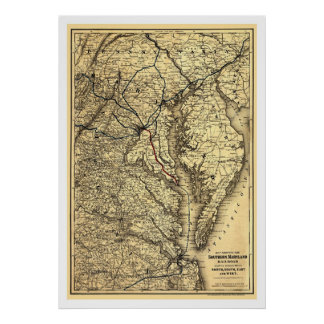 Sydlig Maryland järnvägkarta 1881 Poster