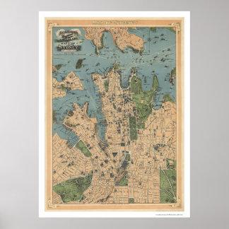 Sydney Australien karta 1922 Poster