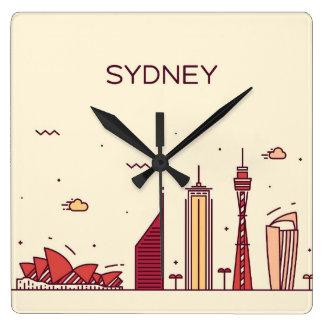 Sydney Australien | klotterhorisont Fyrkantig Klocka