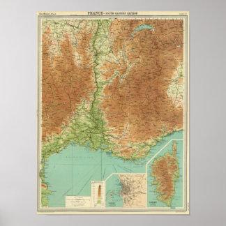 Sydöstliga frankriken delar upp Corsica Marseille Poster