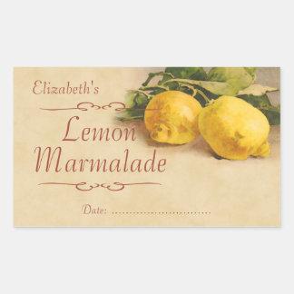 Sylt eller på burk för citron rektangelformat klistermärke