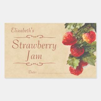 Sylt eller på burk för jordgubbe rektangulärt klistermärke