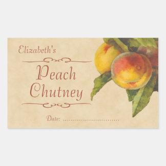 Sylt eller på burk för persika retangel klistermärke