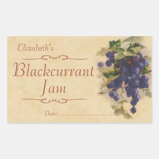 Sylt eller på burk för svart vinbär retangel klistermärke