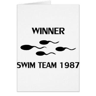 symbol 1987 för vinnaresimmalag hälsningskort