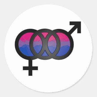symbol för bisexuell person 3D Runt Klistermärke