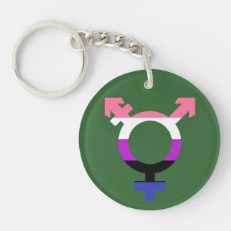 Symbol för Genderfluid flaggatrans. Dubbelsidigt Rund Akryl Nyckelring