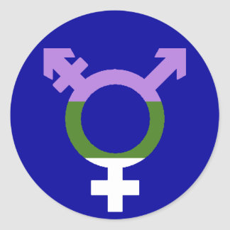 Symbol för Genderqueer flaggatrans. Runt Klistermärke