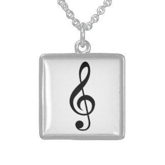 Symbol för TrebleklavG-Klav musikal Sterling Silver Halsband