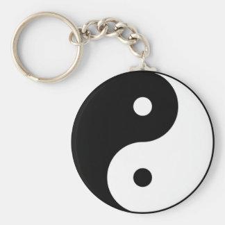 symbol för yinyang svart vit rund nyckelring
