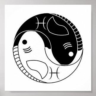 symbol för zodiac för astrologi för pisces yinyang poster