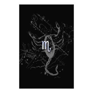 Symbol för Zodiac för kromstilScorpio på Hevelius Brevpapper