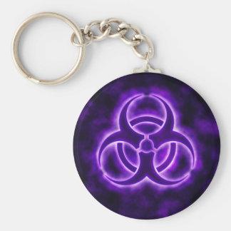 Symbol Keychain för lilaglödBiohazard Rund Nyckelring