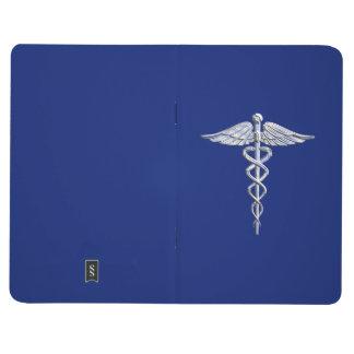 Symbol marinblåa Deco för lik Caduceus för krom Anteckningsbok