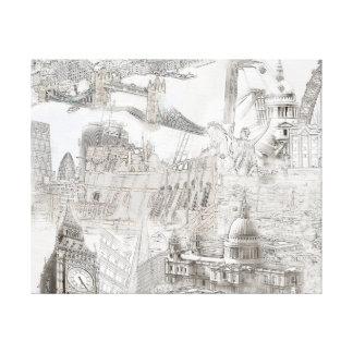 Symboler av London - Digital konstkanfas Canvastryck