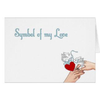 Symbolet av min kärlek med hjärta & duvor ringer k kort