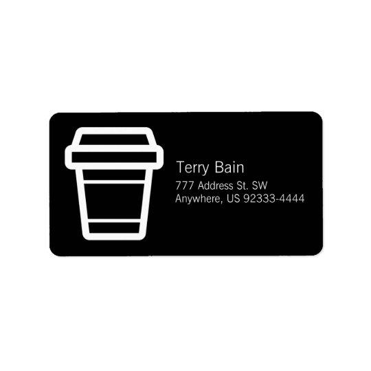 Symbolskaffe eller den Latte koppen Till-Går Adressetikett