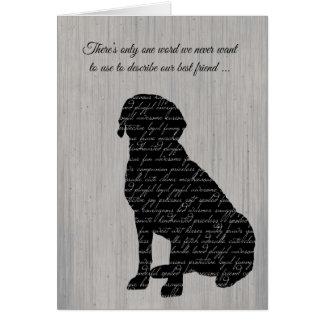 Sympati förlust av hunden, ordCollage Hälsningskort
