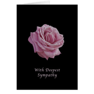 Sympati rosa ros på svart hälsningskort