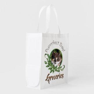 Synad kattunge för Calico grönt Återanvändbar Påse