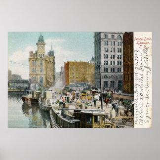 Syracuse paketskeppsdocka, vintage 1905 poster