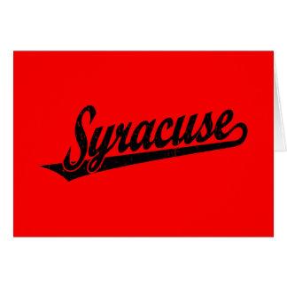 Syracuse skrivar logotypen i den bedrövade svarten hälsningskort