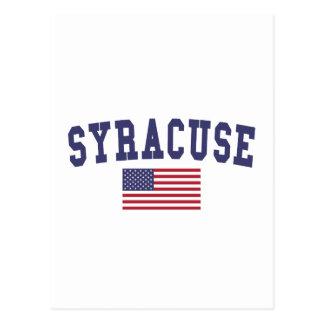 Syracuse US flagga Vykort