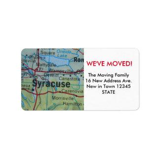Syracuse vi har flyttatetikett adressetikett
