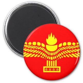 Syriac Aramaic folk, Syrien flagga Magnet Rund 5.7 Cm