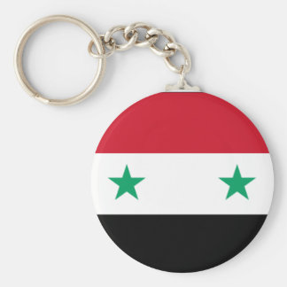 Syriansk flagga Keychain Rund Nyckelring