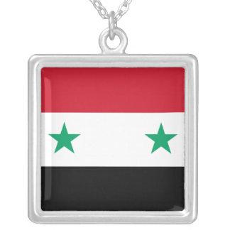 Syriansk flagga silverpläterat halsband