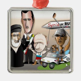 Syrien eller byst silverfärgad fyrkantigt julgransprydnad