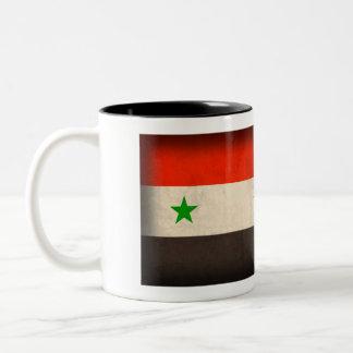 Syrien flagga bedrövad mugg