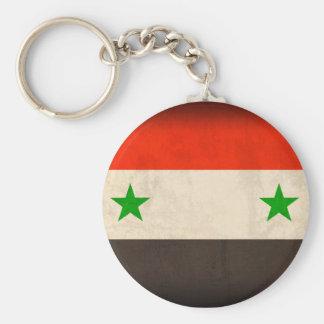 Syrien flagga bekymrade Keychain Rund Nyckelring