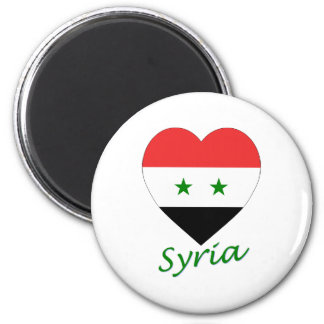 Syrien flaggahjärta magnet rund 5.7 cm