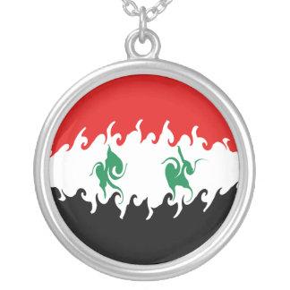 Syrien Gnarly flagga Halsband Med Rund Hängsmycke