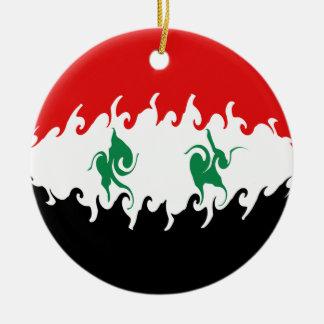 Syrien Gnarly flagga Rund Julgransprydnad I Keramik